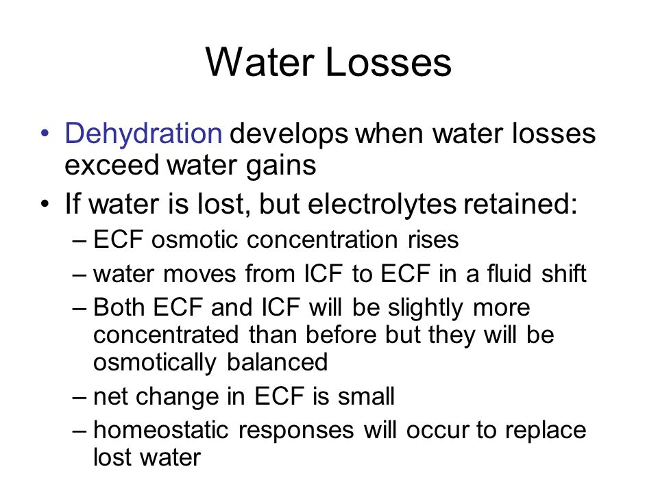 Normal ECF ICF Osmolarity = 14 particles/10 water Osmolarity = 14 particles/10 water
