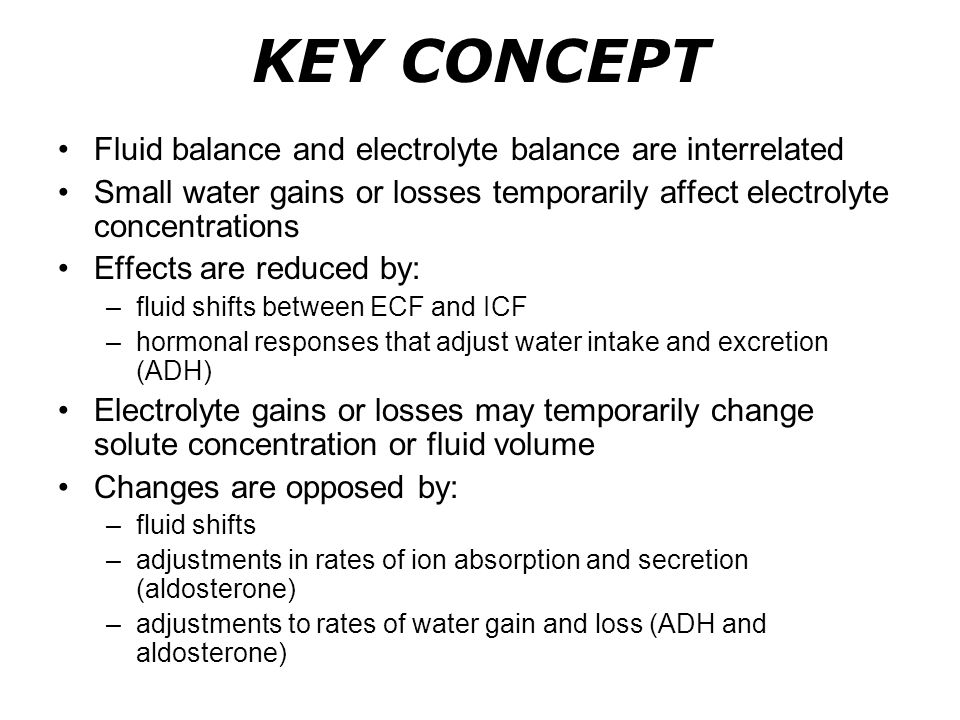 KEY CONCEPT Fluid balance and electrolyte balance are interrelated Small water gains or losses temporarily affect electrolyte concentrations Effects a
