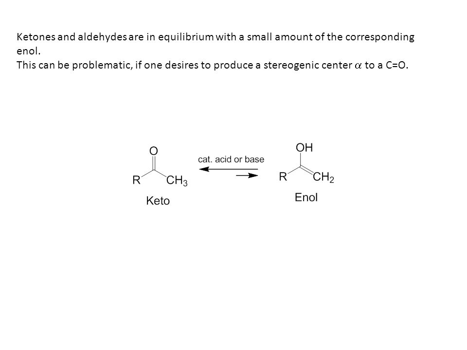Ketones and aldehydes are in equilibrium with a small amount of the corresponding enol.