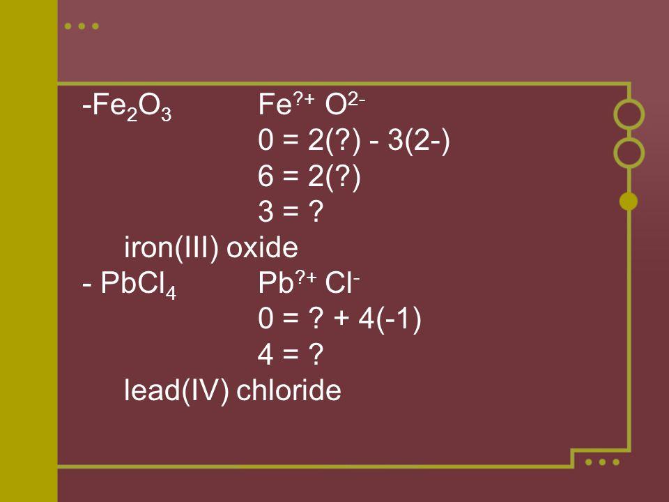 -Fe 2 O 3 Fe + O 2- 0 = 2( ) - 3(2-) 6 = 2( ) 3 = .