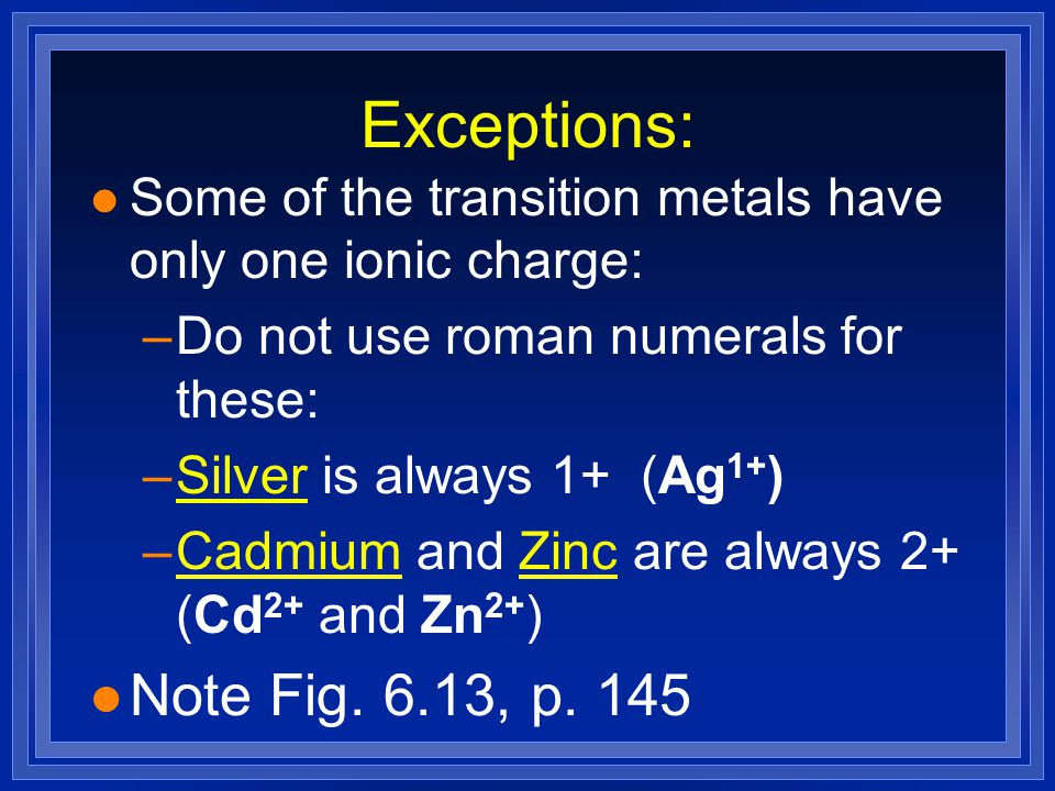 Exceptions: l Some of the transition metals have only one ionic charge: –Do not use roman numerals for these: –Silver is always 1+ (Ag 1+ ) –Cadmium and Zinc are always 2+ (Cd 2+ and Zn 2+ ) l Note Fig.