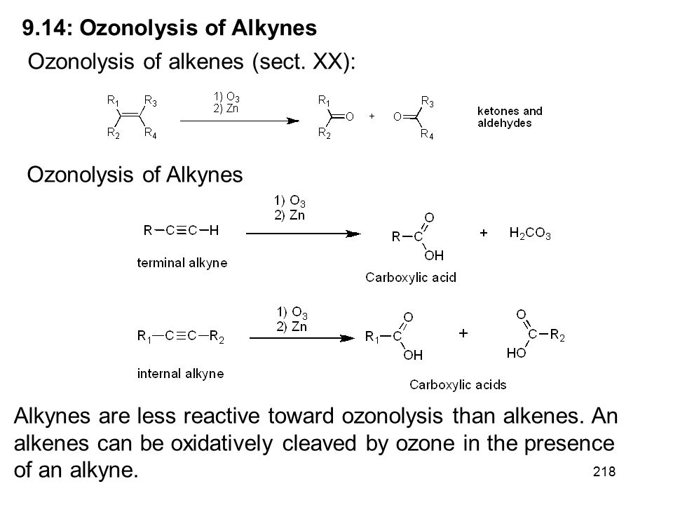 218 9.14: Ozonolysis of Alkynes Ozonolysis of alkenes (sect.