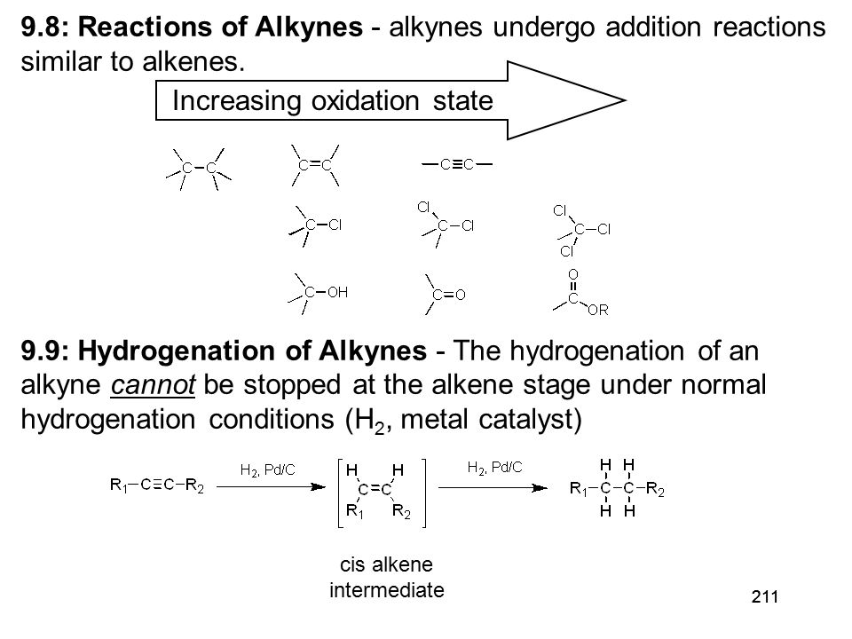 212 cis -addition of H 2 Hydrognation can be stopped at the cis-alkene stage with Lindlar's catalyst 9.10: Metal-Ammonia Reduction of Alkynes - Dissolving Metal Reduction: Li(0) metal in liquid ammonia (NH 3 ) Li(0) in NH 3 e (solvated electron) trans-alkene The π-bonds of alkenes are slightly more reactive toward hydrogenation than the π-bond of an alkene.