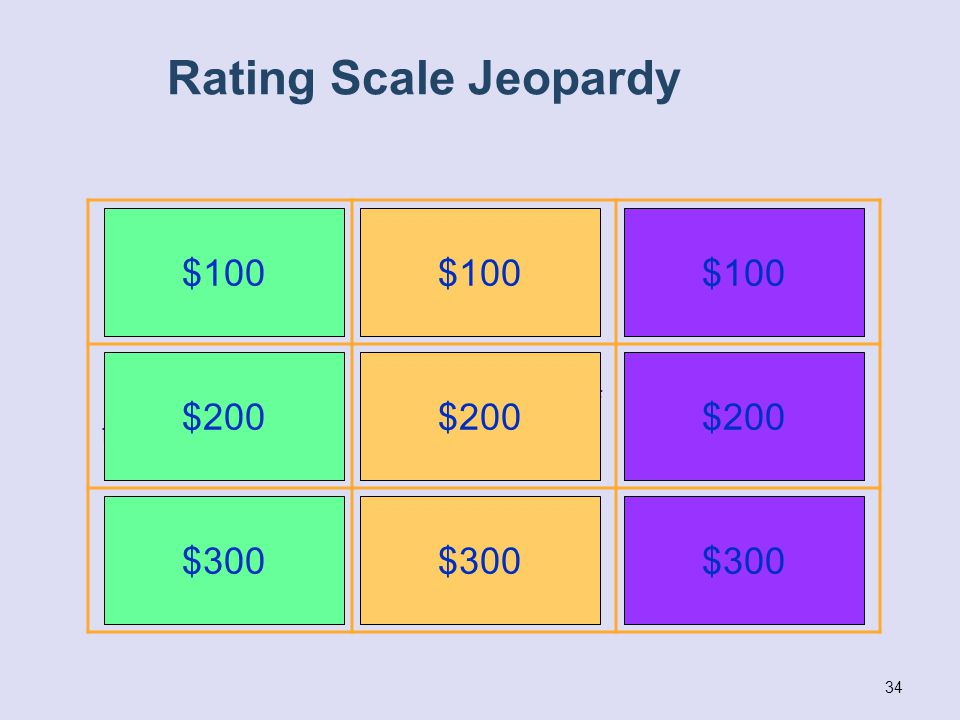34 Rating Scale Jeopardy Age appropriate functioning – no concerns Mix of age appropriate and not age appropriate functioning No age appropriate funct