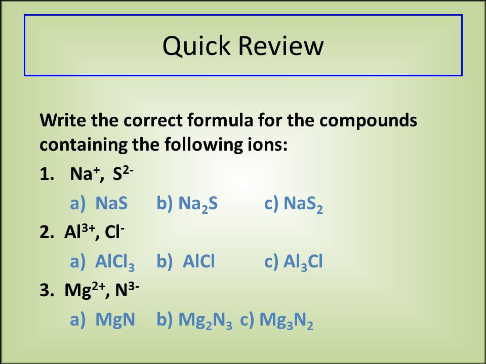 Quick Review Write the correct formula for the compounds containing the following ions: 1.