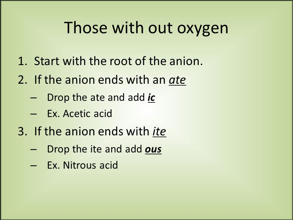 Those with out oxygen 1.Start with the root of the anion.