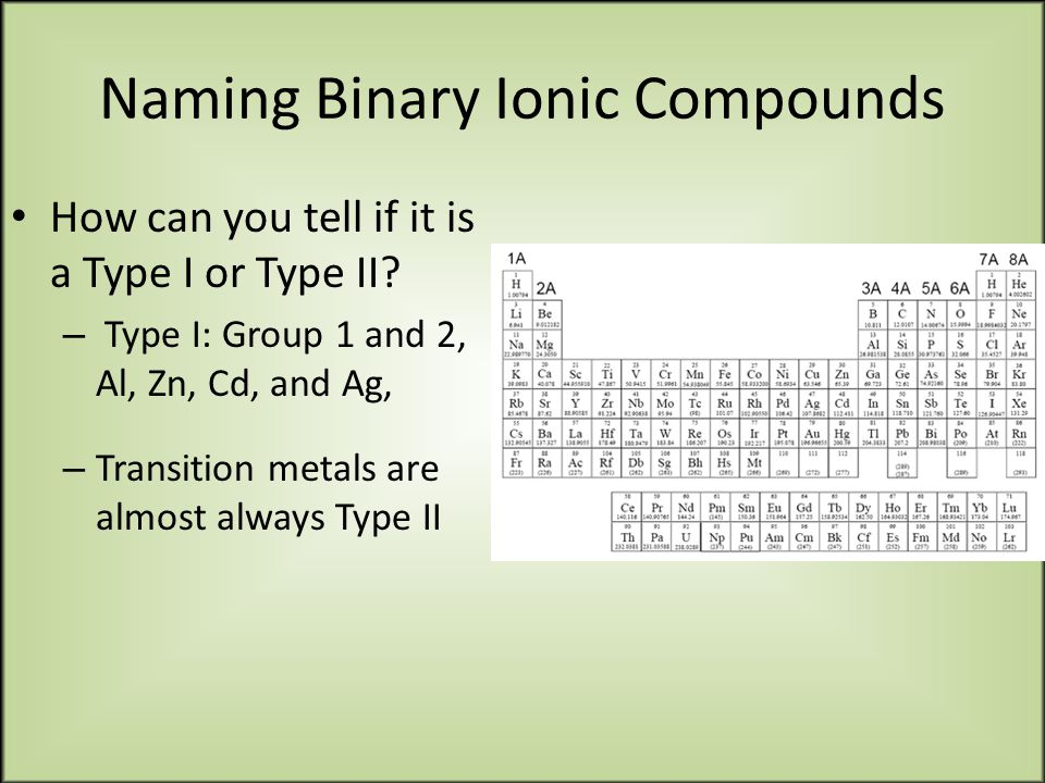 Naming Binary Ionic Compounds How can you tell if it is a Type I or Type II.