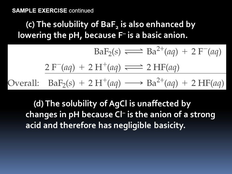 (d) The solubility of AgCl is unaffected by changes in pH because Cl – is the anion of a strong acid and therefore has negligible basicity.