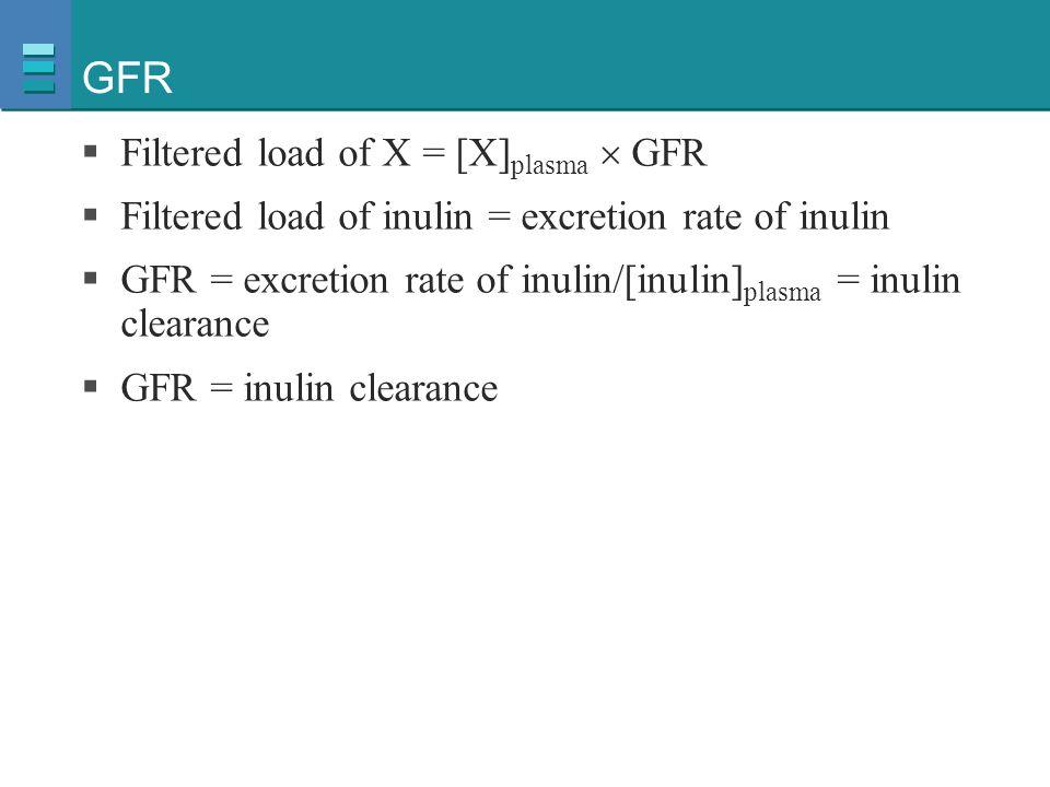 GFR  Filtered load of X = [X] plasma  GFR  Filtered load of inulin = excretion rate of inulin  GFR = excretion rate of inulin/[inulin] plasma = in