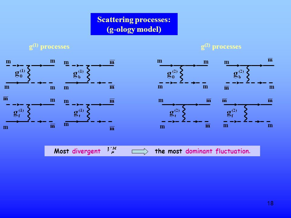 18 Scattering processes: (g-ology model) g (1) processesg (2) processes m m m m m m m m m m m m m m m m m m mm Most divergent the most dominant fluctuation.