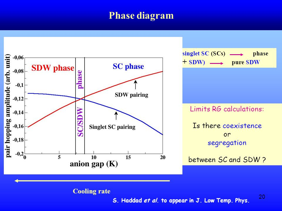 20 Phase diagram pure singlet SC (SCs) phase (SCs + SDW) pure SDW Limits RG calculations: Is there coexistence or segregation between SC and SDW .