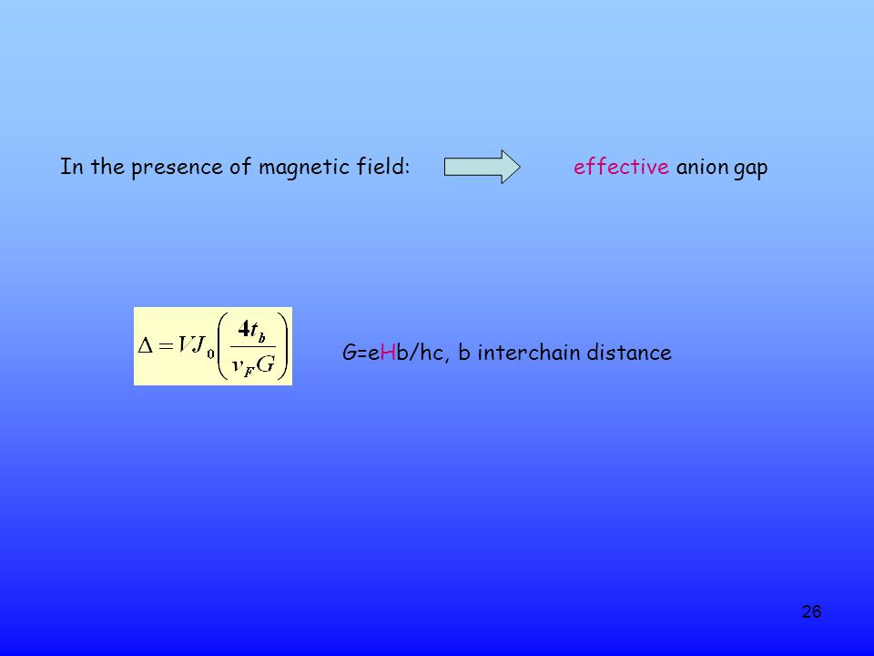 26 G=eHb/hc, b interchain distance In the presence of magnetic field: effective anion gap