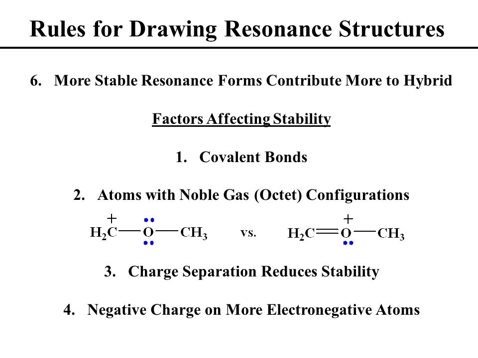Rules for Drawing Resonance Structures 6.More Stable Resonance Forms Contribute More to Hybrid Factors Affecting Stability 1.Covalent Bonds 2.Atoms with Noble Gas (Octet) Configurations 3.Charge Separation Reduces Stability 4.Negative Charge on More Electronegative Atoms