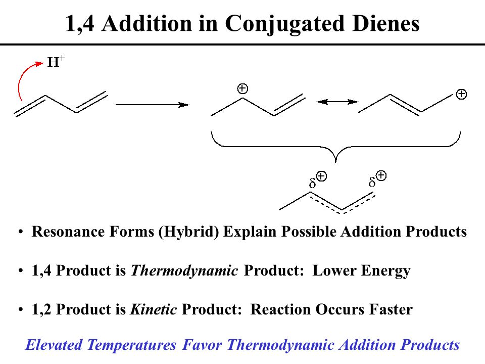 1,4 Addition in Conjugated Dienes Resonance Forms (Hybrid) Explain Possible Addition Products 1,4 Product is Thermodynamic Product: Lower Energy 1,2 Product is Kinetic Product: Reaction Occurs Faster Elevated Temperatures Favor Thermodynamic Addition Products