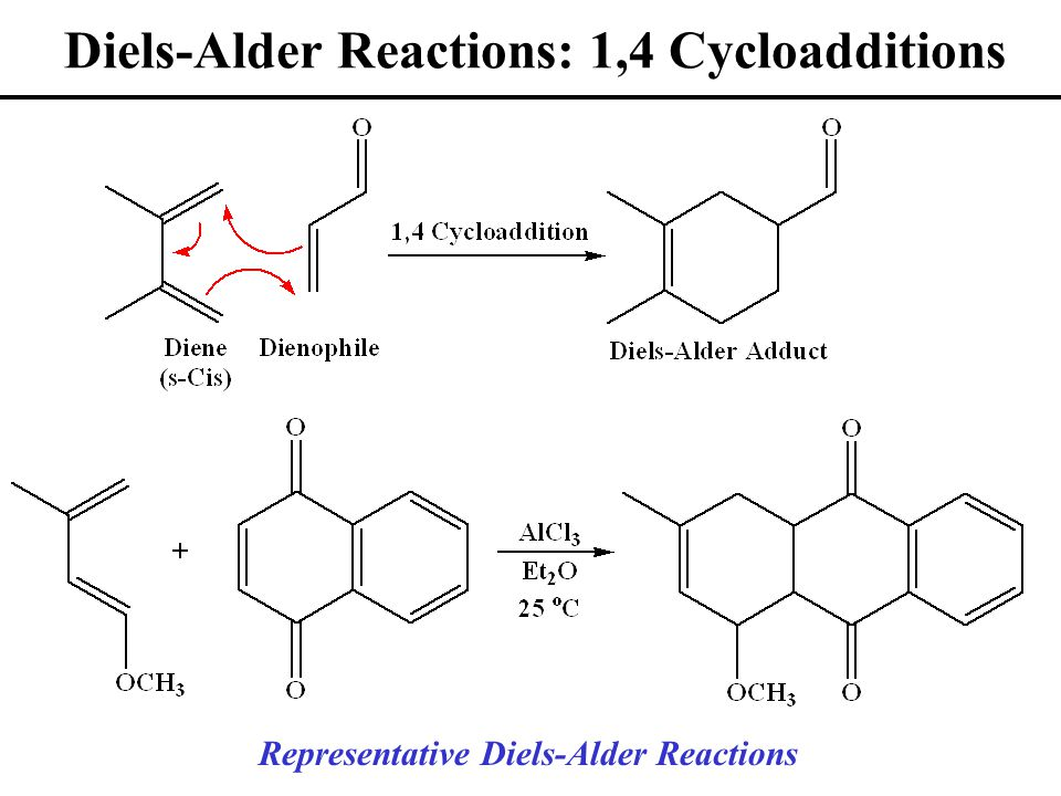 Diels-Alder Reactions: 1,4 Cycloadditions Representative Diels-Alder Reactions