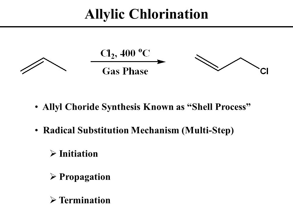 Allylic Chlorination: Mechanism Allylic C—H Bonds Relatively Ease to Dissociate Termination Arises from Any Combination of Radicals