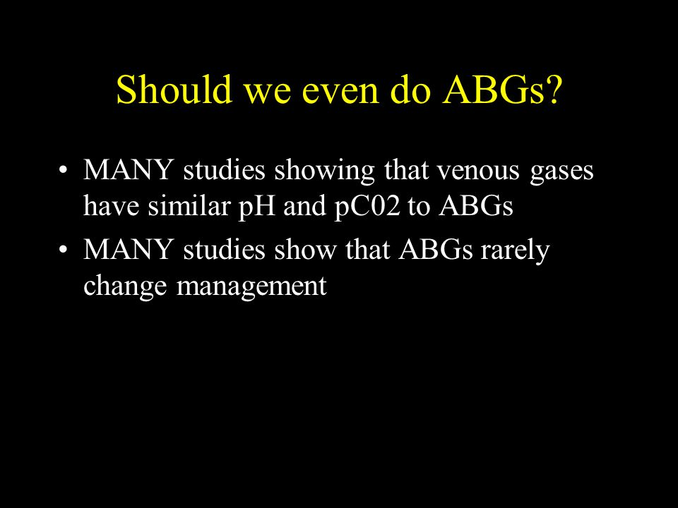 Metabolic Acidosis and bicarbonate therapy: Complications –Paradoxical CSF acidosis –Hypokalemia –Hypocalcemia –Hypernatremia –Volume overload –Overshoot alkalosis Indications for Bicarb –pH < 7.10 –ASA –Methanol –Ethylene glycol –NOT DKA (increased rates of cerebral edema): Glaver NEJM 2001