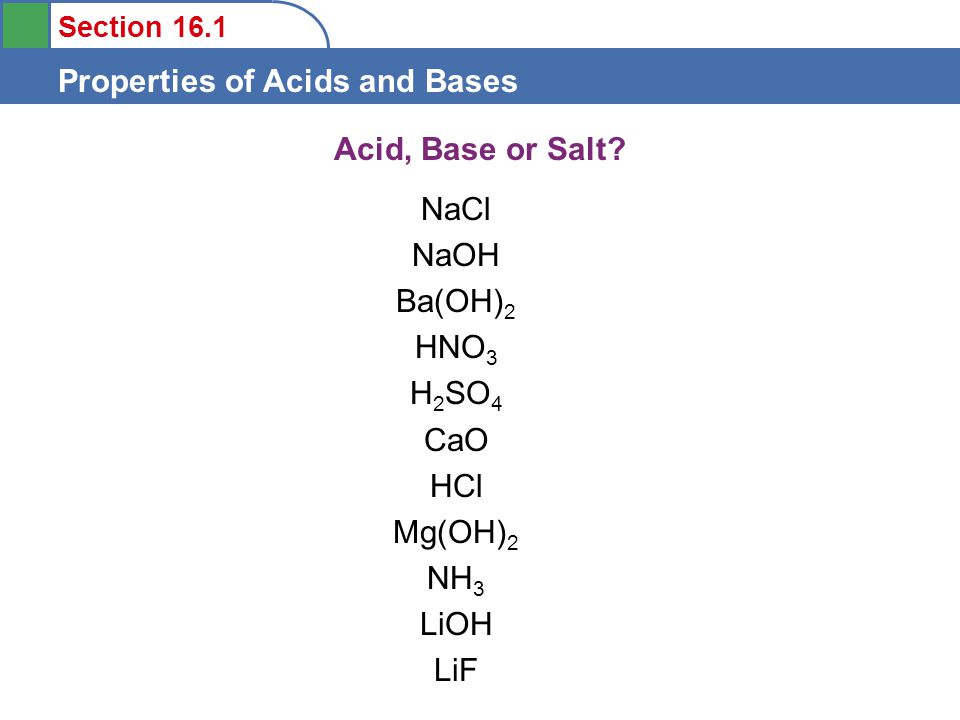 Section 16.1 Properties of Acids and Bases Acid, Base or Salt.