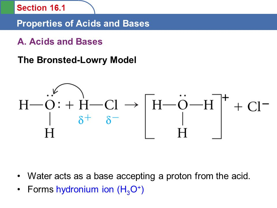 Section 16.1 Properties of Acids and Bases A.