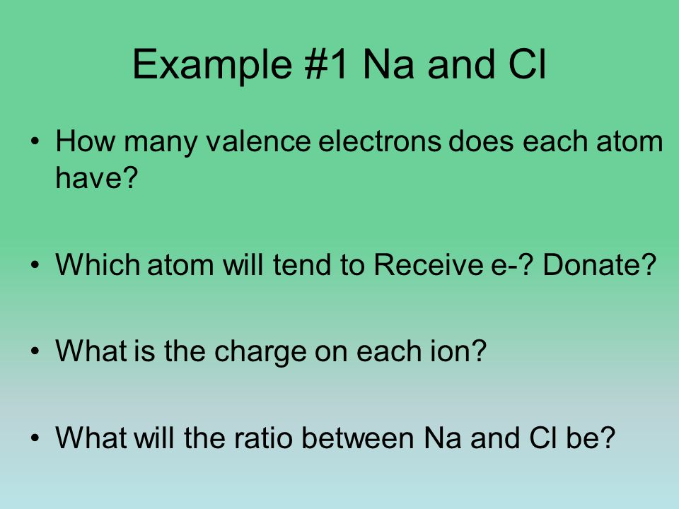 Example #1 Na and Cl How many valence electrons does each atom have? Which atom will tend to Receive e-? Donate? What is the charge on each ion? What