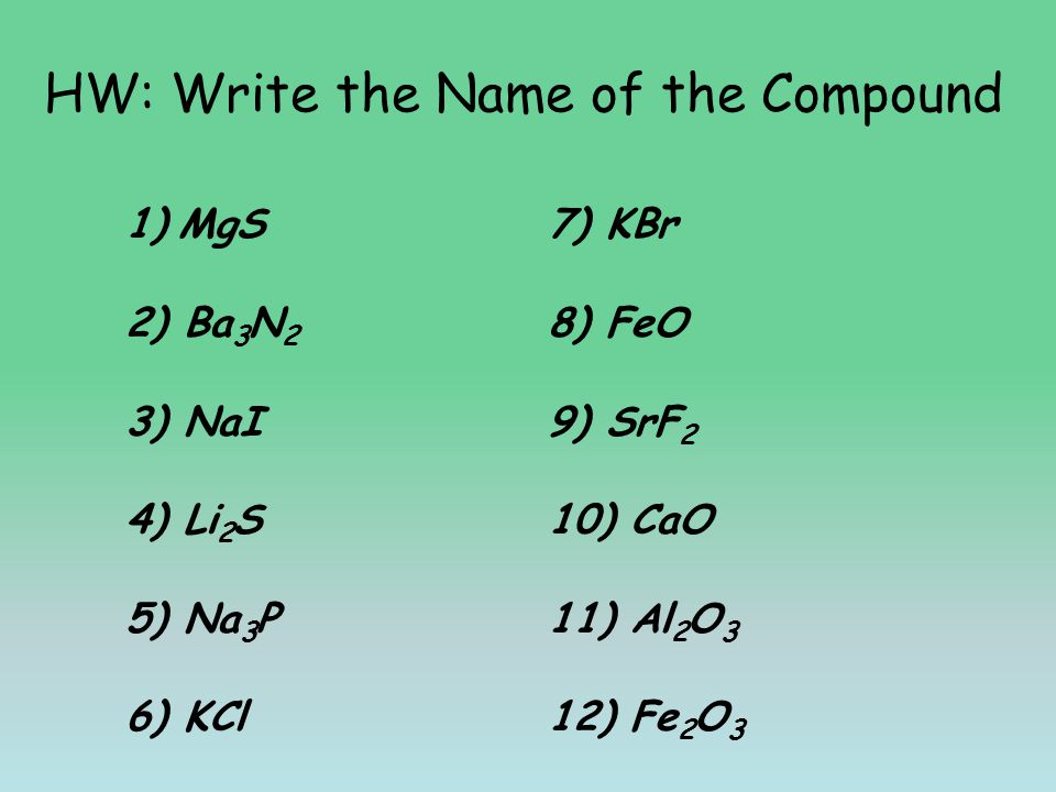 HW: Write the Name of the Compound 1)MgS7) KBr 2) Ba 3 N 2 8) FeO 3) NaI9) SrF 2 4) Li 2 S10) CaO 5) Na 3 P11) Al 2 O 3 6) KCl12) Fe 2 O 3