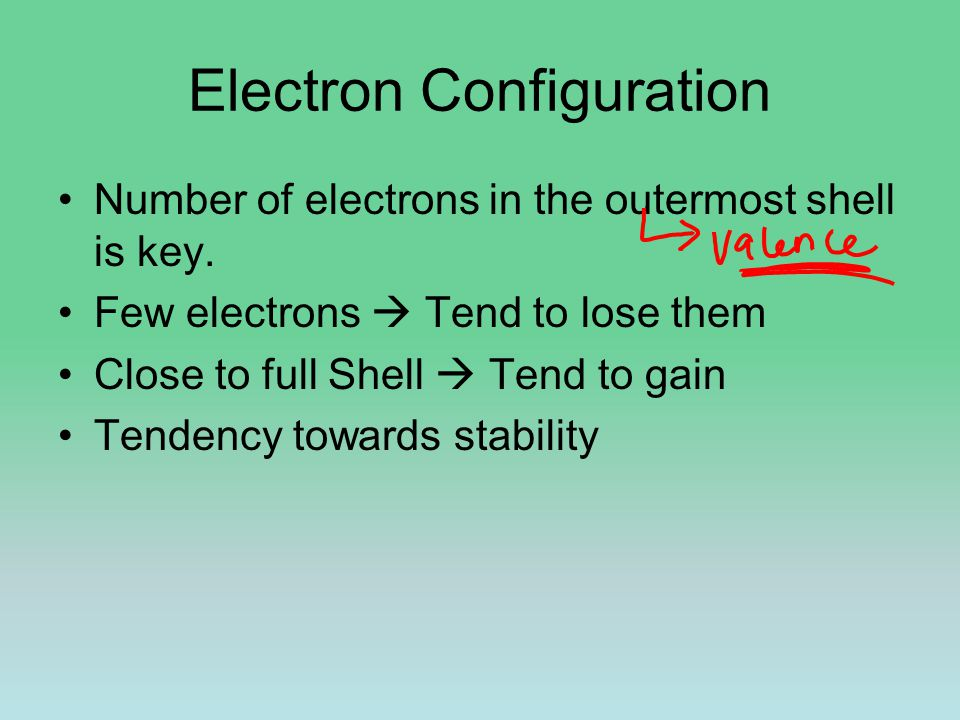 Electron Configuration Number of electrons in the outermost shell is key. Few electrons  Tend to lose them Close to full Shell  Tend to gain Tendenc