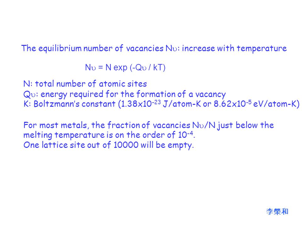 The equilibrium number of vacancies N  : increase with temperature N  = N exp (-Q  / kT) N: total number of atomic sites Q  : energy required for the formation of a vacancy K: Boltzmann's constant (1.38x10 -23 J/atom-K or 8.62x10 -5 eV/atom-K) For most metals, the fraction of vacancies N  /N just below the melting temperature is on the order of 10 -4.