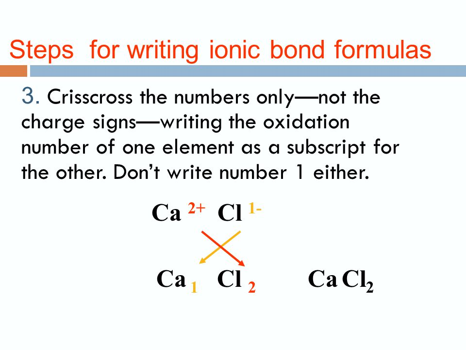 Steps for writing ionic bond formulas 2.