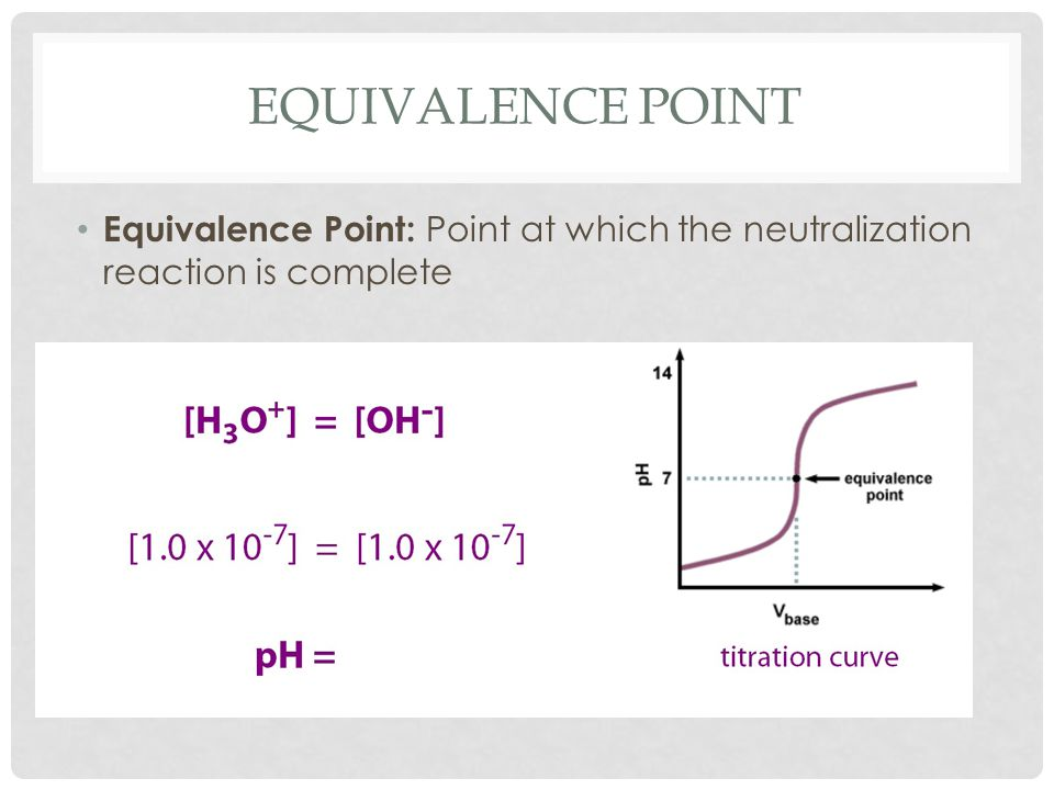 EQUIVALENCE POINT Equivalence Point: Point at which the neutralization reaction is complete