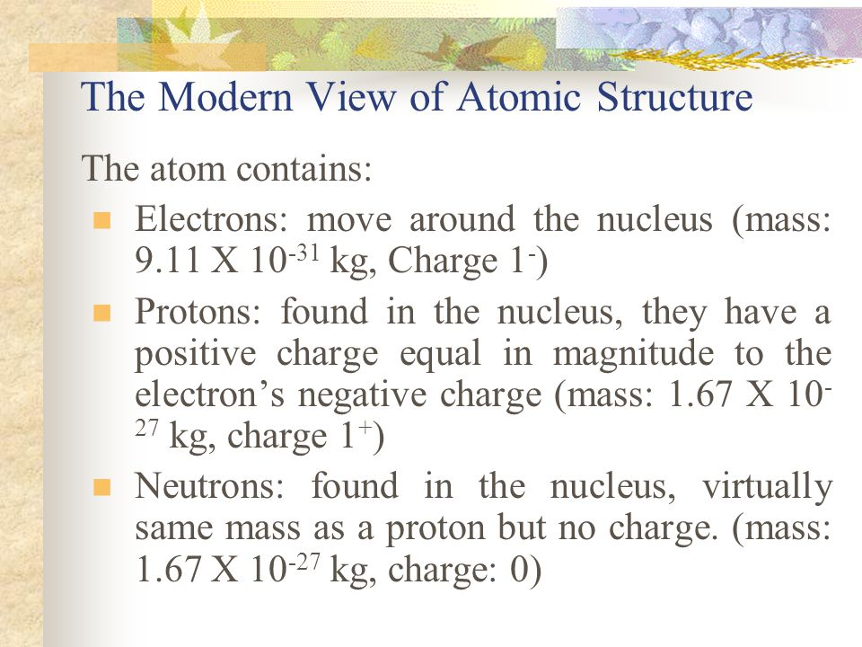 The Modern View of Atomic Structure The atom contains: Electrons: move around the nucleus (mass: 9.11 X 10 -31 kg, Charge 1 - ) Protons: found in the