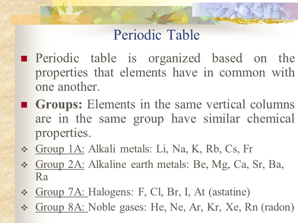 Periodic Table Periodic table is organized based on the properties that elements have in common with one another. Groups: Elements in the same vertica