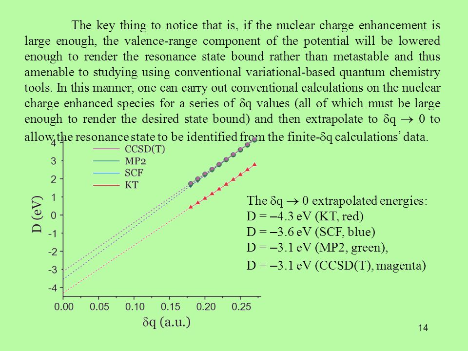 14 The key thing to notice that is, if the nuclear charge enhancement is large enough, the valence-range component of the potential will be lowered enough to render the resonance state bound rather than metastable and thus amenable to studying using conventional variational-based quantum chemistry tools.
