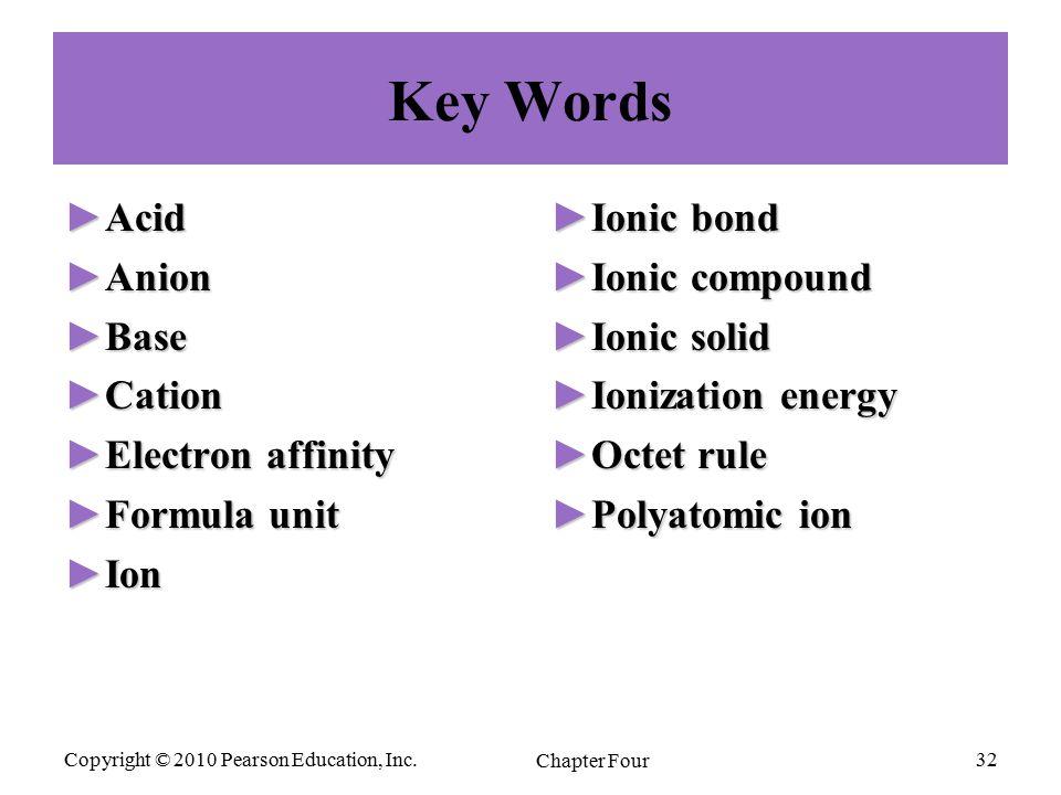Copyright © 2010 Pearson Education, Inc. Chapter Four 32 Key Words ►Acid ►Anion ►Base ►Cation ►Electron affinity ►Formula unit ►Ion ►Ionic bond ►Ionic