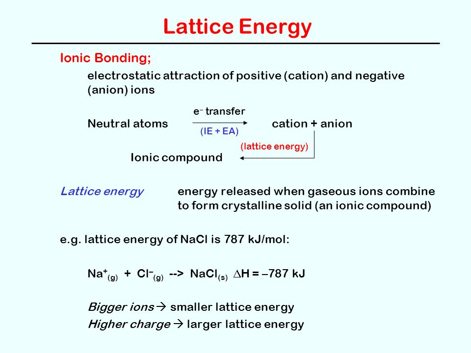Born-Haber Cycles Lattice energy can be calculated using a Born-Haber cycle; a hypothetical series of steps describing the formation of an ionic compound from the elements.