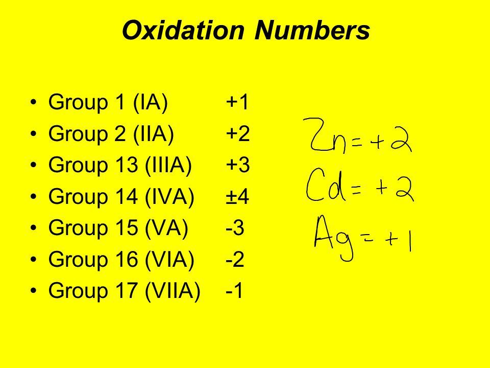 Oxidation Numbers Group 1 (IA)+1 Group 2 (IIA)+2 Group 13 (IIIA)+3 Group 14 (IVA)±4 Group 15 (VA)-3 Group 16 (VIA)-2 Group 17 (VIIA)-1