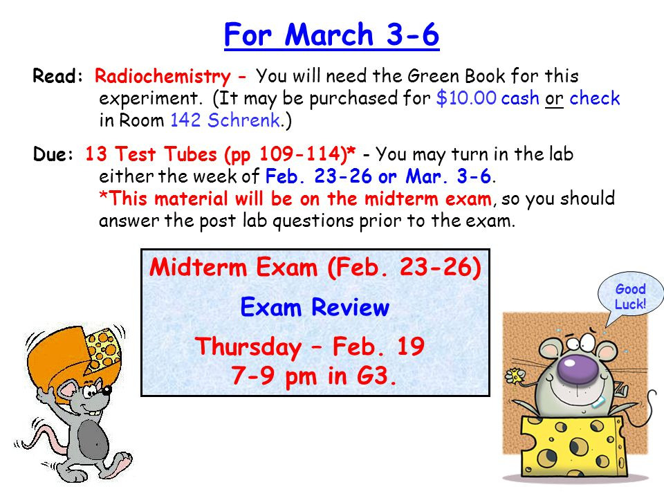Midterm Exam (Feb. 23-26) Exam Review Thursday – Feb.