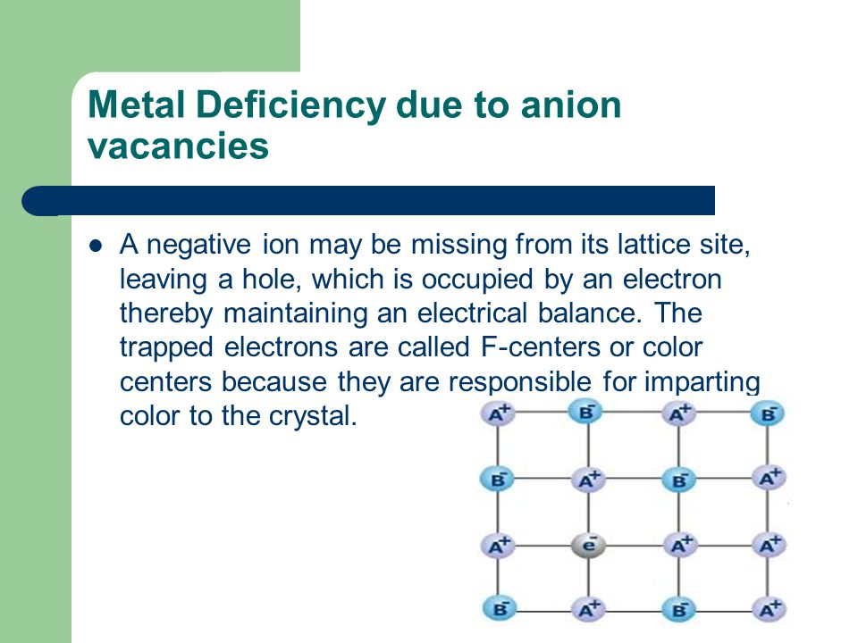 Metal Deficiency due to anion vacancies A negative ion may be missing from its lattice site, leaving a hole, which is occupied by an electron thereby