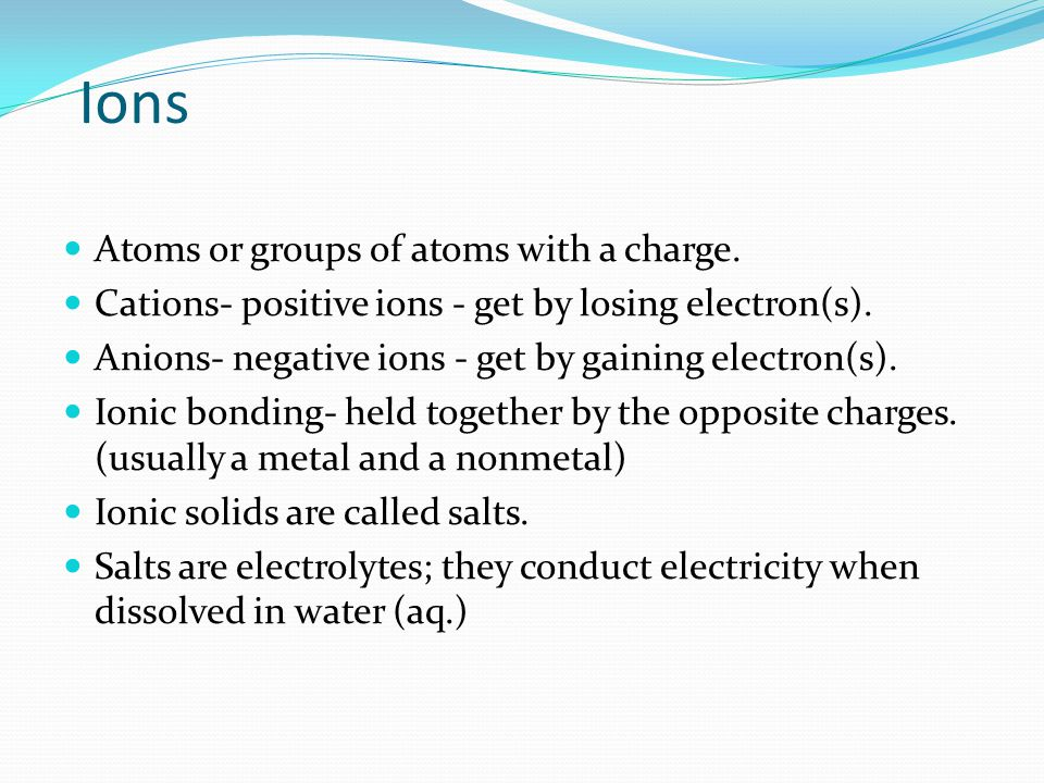  Name the cation first, then polyatomic ion  For NaNO 3, the monatomic cation is Na +, sodium, and the polyatomic anion is NO 3 , named nitrate.