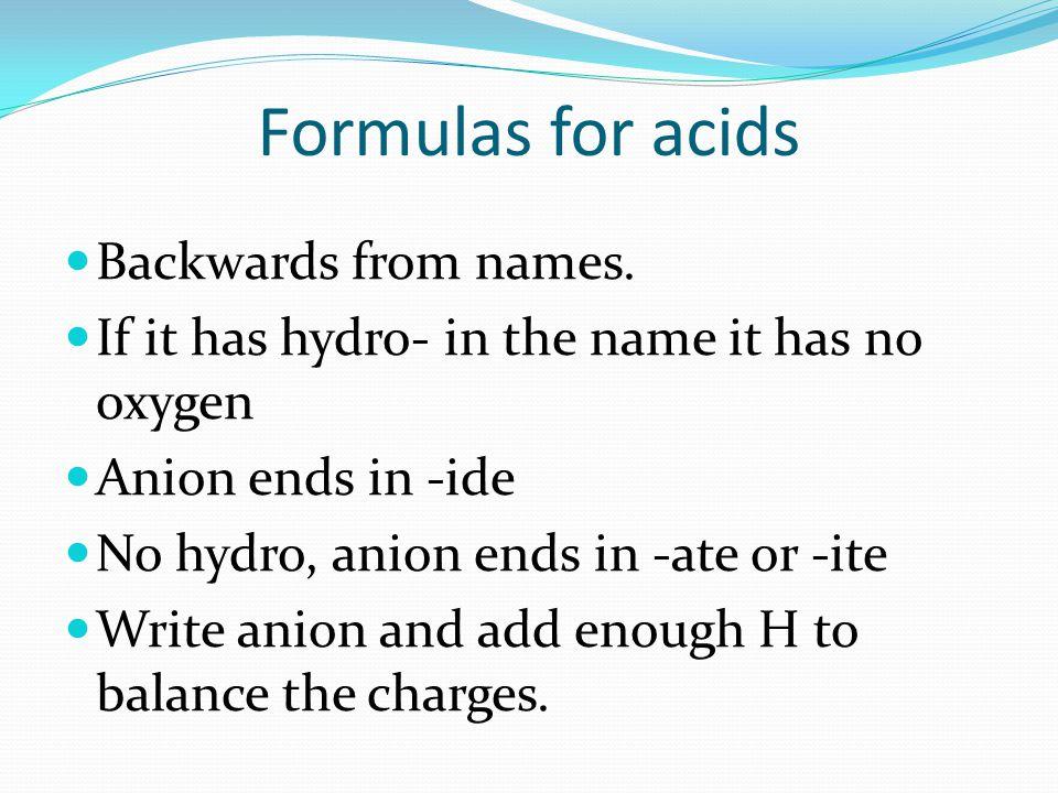 Formulas for acids Backwards from names.