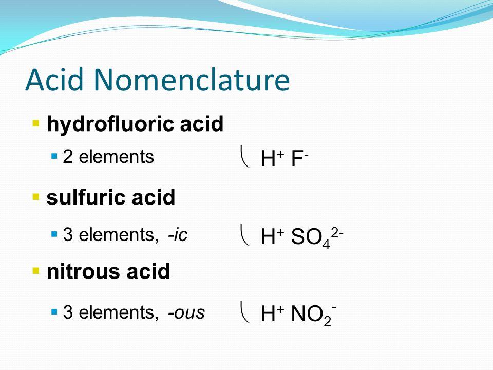  hydrofluoric acid  sulfuric acid  nitrous acid  2 elements  3 elements, -ic  3 elements, -ous Acid Nomenclature  H + F -  H + SO 4 2-  H + NO 2 -