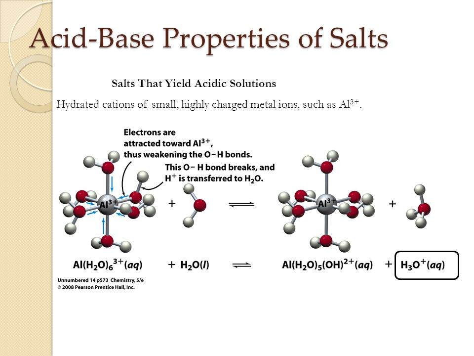 Acid-Base Properties of Salts Salts That Yield Acidic Solutions Hydrated cations of small, highly charged metal ions, such as Al 3+.