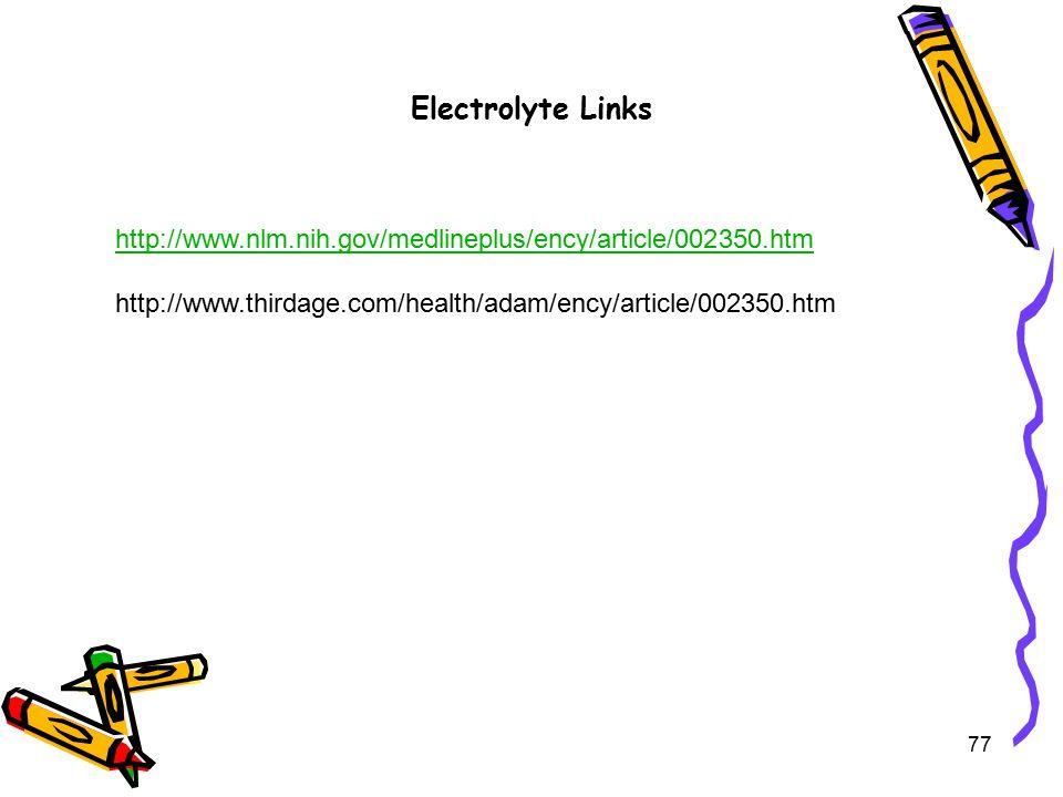 Electrolyte Links 77 http://www.nlm.nih.gov/medlineplus/ency/article/002350.htm http://www.thirdage.com/health/adam/ency/article/002350.htm