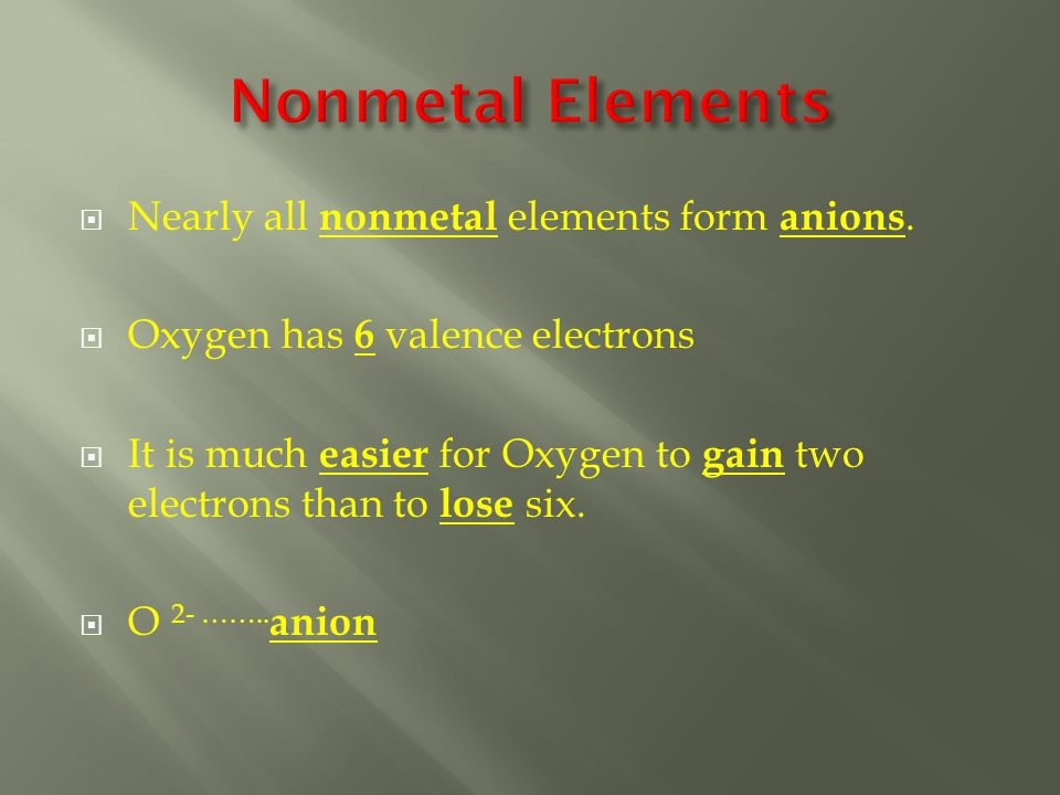  Nearly all nonmetal elements form anions.