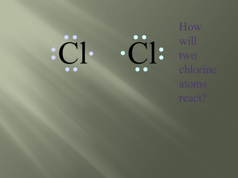 Cl How will two chlorine atoms react