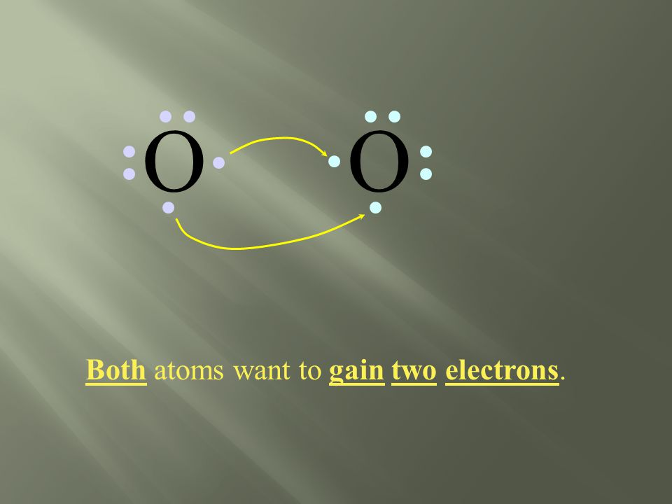 Both atoms want to gain two electrons. OO