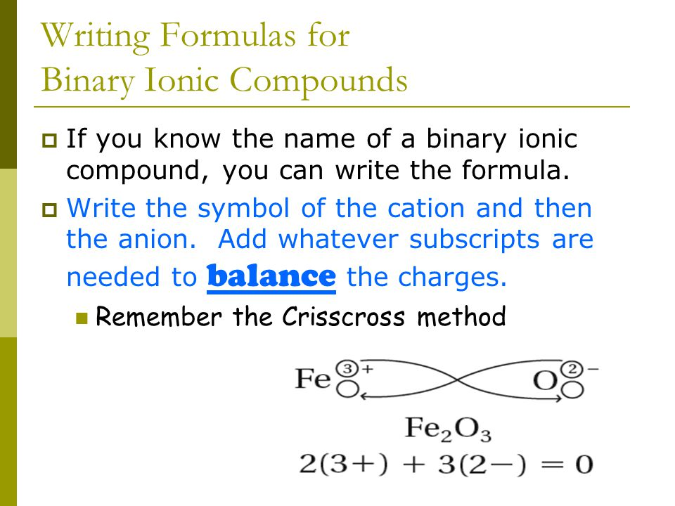 Practice Naming of Binary Ionic Compounds  Easy one first.