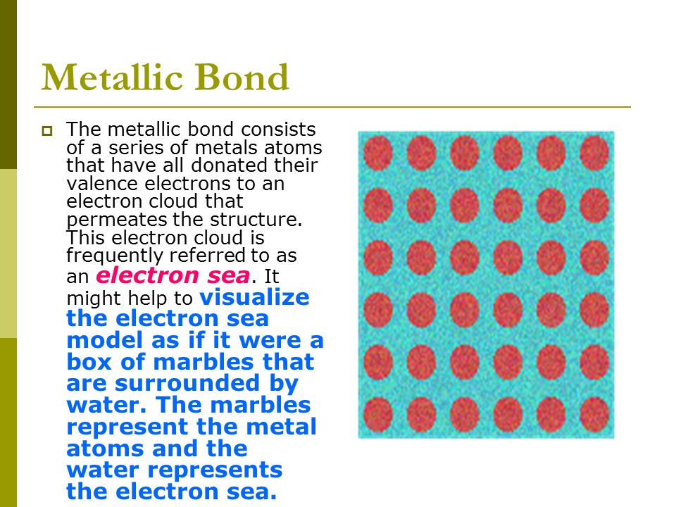 Metallic Bonds  Metals are made up of closely packed cations rather than neutral atoms.