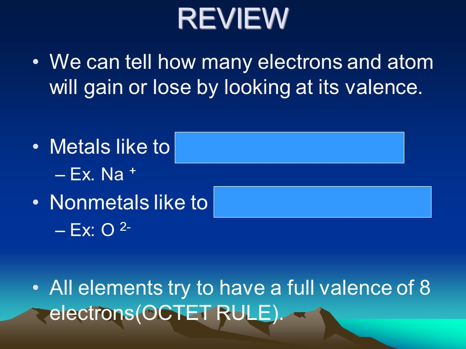 REVIEW We can tell how many electrons and atom will gain or lose by looking at its valence.
