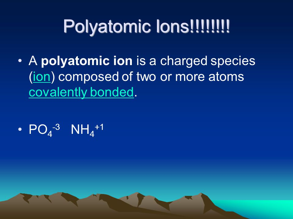 Polyatomic Ions!!!!!!!.
