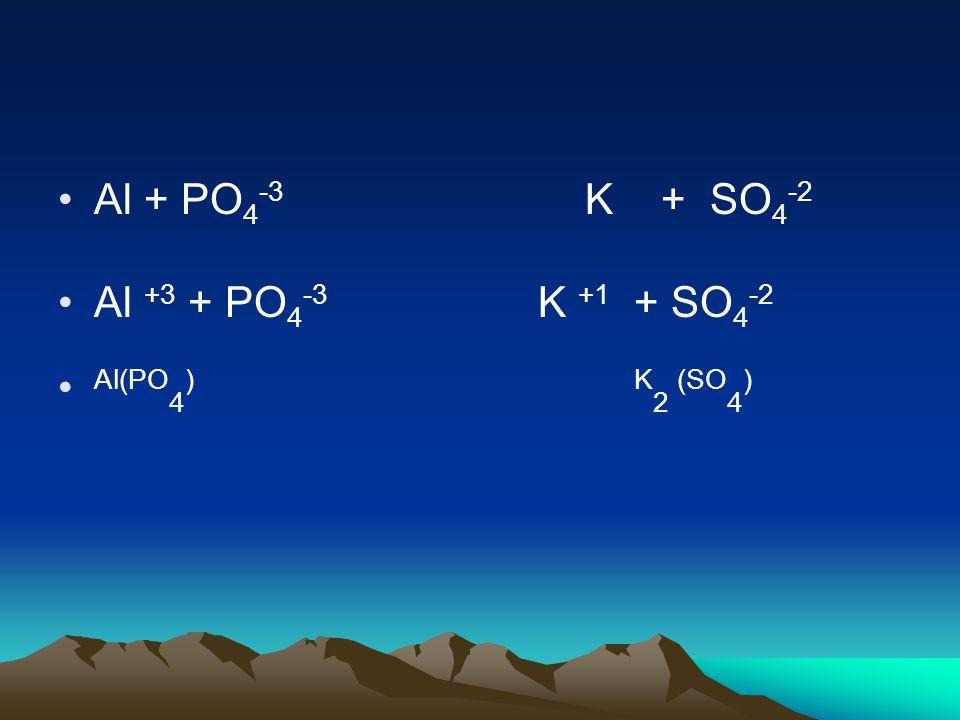 Al + PO 4 -3 K + SO 4 -2 Al +3 + PO 4 -3 K +1 + SO 4 -2 Al(PO 4 )K 2 (SO 4 )